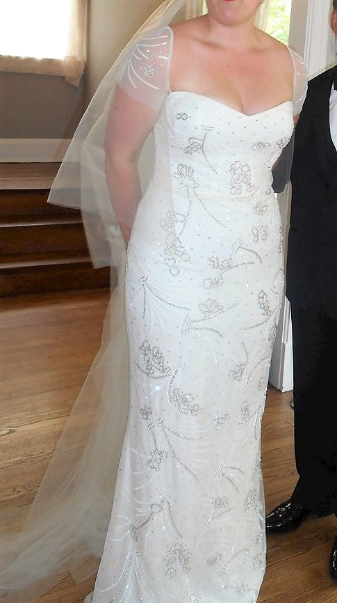 Reem Acra 'Over the Moon' size 16 used wedding dress front view on bride
