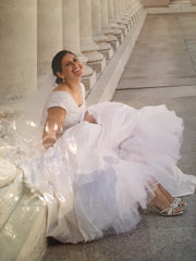 Custom 'Classic Ballgown' size 8 used wedding dress front view on bride