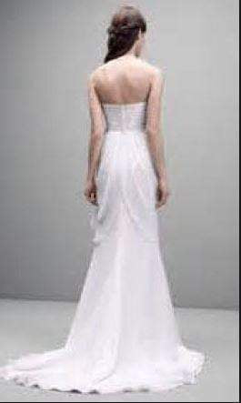 Vera Wang White 'Strapless Chiffon' size 12 used wedding dress back view on model