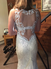 David's Bridal 'Sincerity' size 4 new wedding dress back view close up
