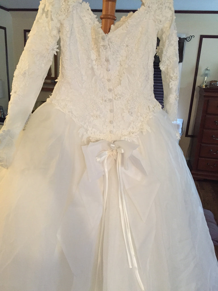 Emmanuelle 'Ball Gown' size 12 used wedding dress back view on hanger