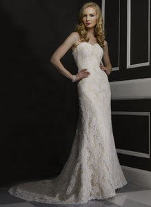 Robert Bullock 'Virgina' size 8 used wedding dress front view on model