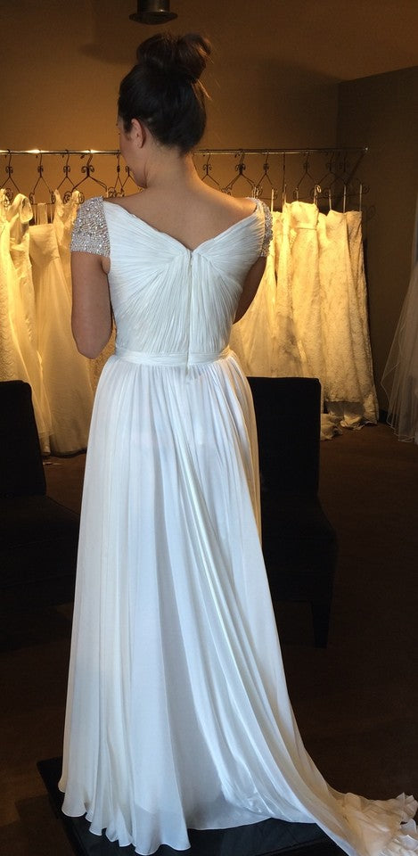 Reem Acra 'Olivia' size 10 used wedding dress back view on bride