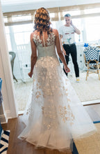 Load image into Gallery viewer, Reem Acra 'Essence of Joy' size 2 used wedding dress back view on bride