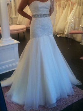 Hayley Paige 'Jazmine' size 4 new wedding dress front view on bride