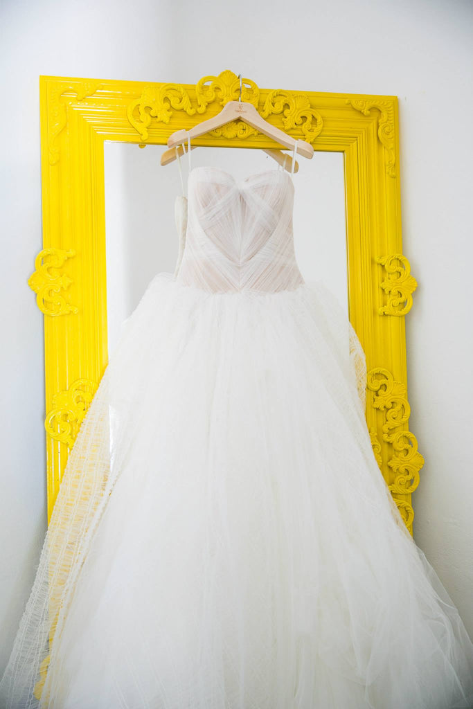 Vera Wang 'Octavia' size 8 used wedding dress front view on hanger