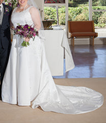 Private Collection 'Lace Overlay Sleeveless' size 14 used wedding dress front view on bride