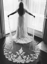 Load image into Gallery viewer, Hayley Paige 'Custom' size 8 used wedding dress back view on bride