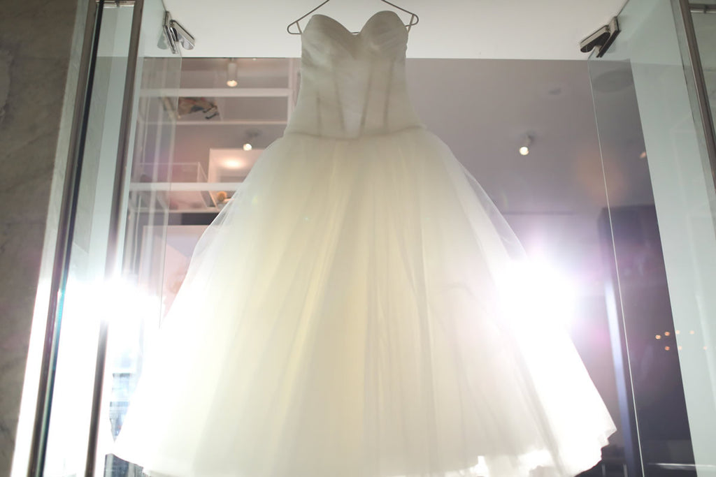 Pnina Tonai '4051' size 8 used wedding dress front view on hanger