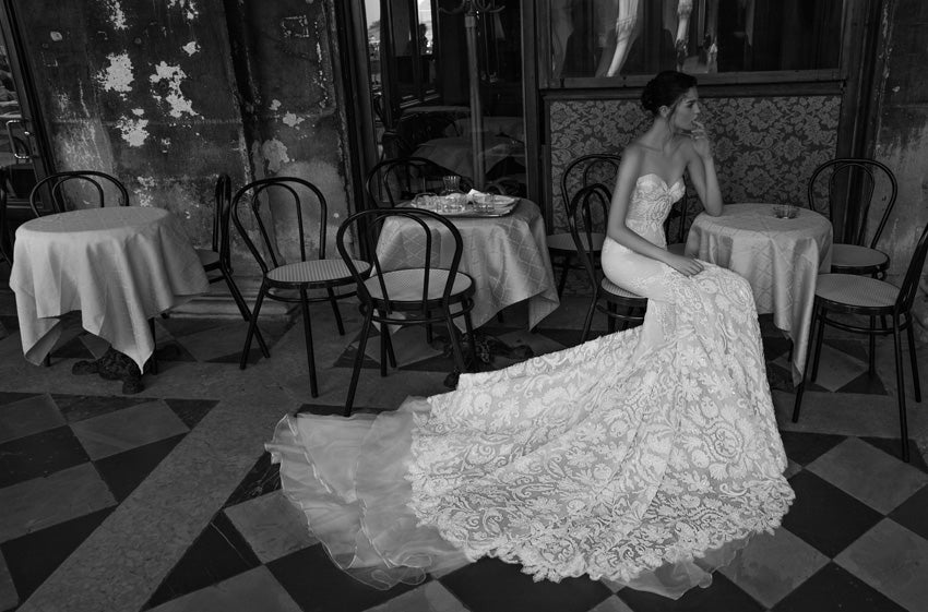Inbal Dror 'BR 15-16' size 0 used wedding dress side view on model