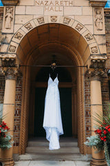 Mon Cherie 'Enchanting' size 2 used wedding dress front view on hanger