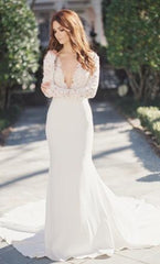 Tara Keely 'Lace and Crepe' size 8 new wedding dress front view on model