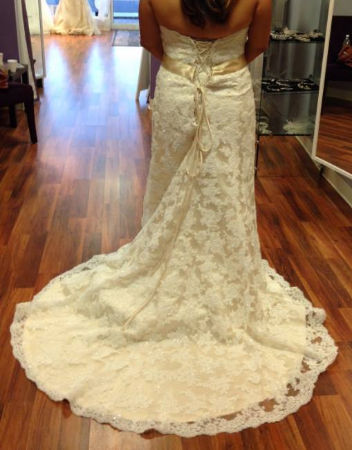 Maggie Sottero 'Karena Royale' size 18 new wedding dress back view on bride