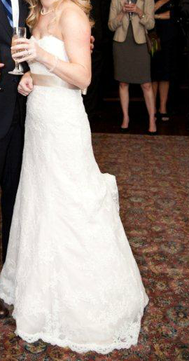Watters 'Pasadena' size 2 used wedding dress side view on bride