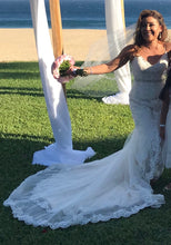 Load image into Gallery viewer, Lillian West '6450' size 8 used wedding dress front view on bride