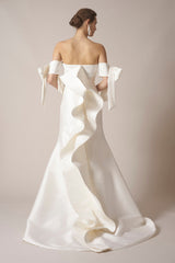 Sachin & Babi 'Off the Shoulder' size 10 used wedding dress back view on model