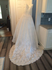Mikael D 'Strapless' size 6 sample wedding dress back view on hanger