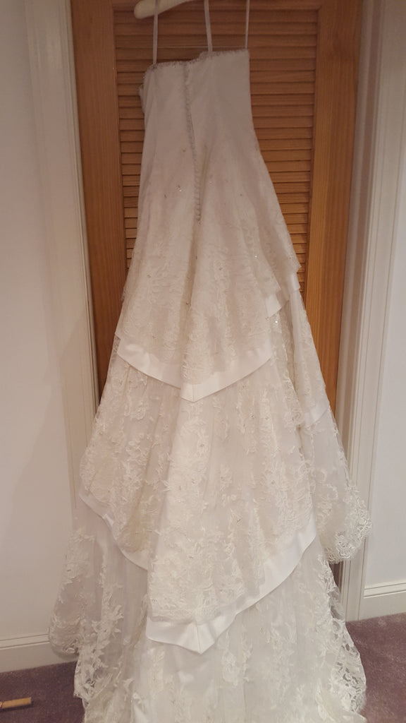 Sophia Tolli 'Lace And Elegance' size 10 new wedding dress back view on hanger