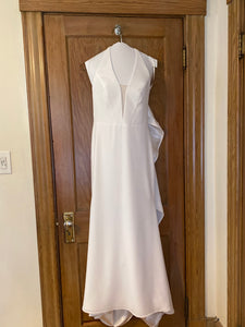 Mikaella 'Halter 2150' size 6 used wedding dress front view on hanger