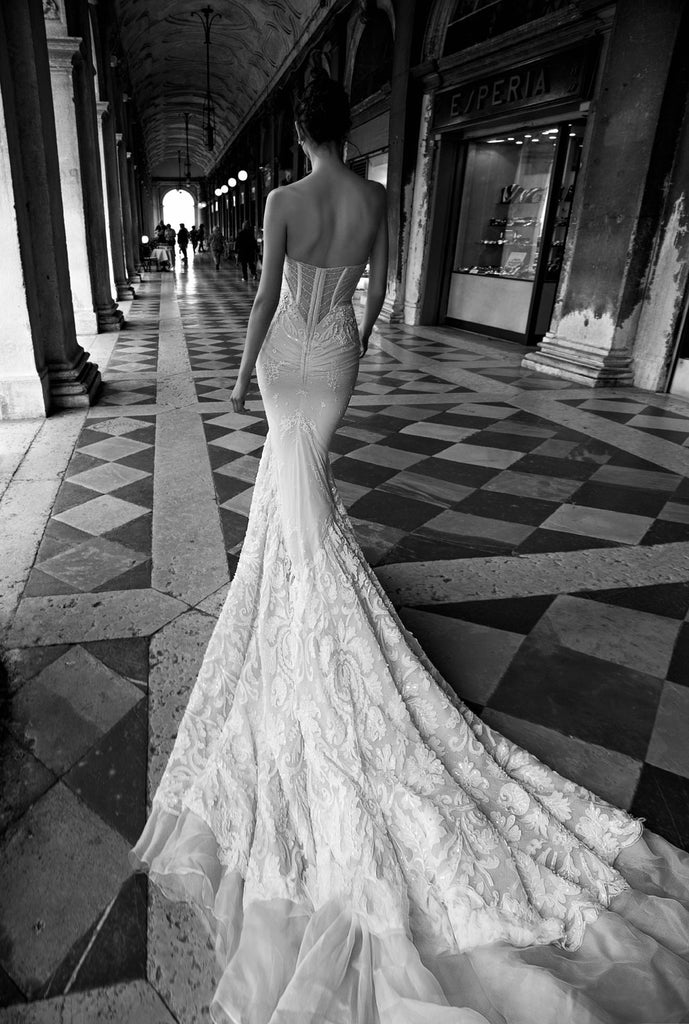 Inbal Dror 'BR 15-16' size 0 used wedding dress back view on model