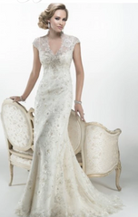 Maggie Sottero 'Odette 2015' size 8 new wedding dress front view on model