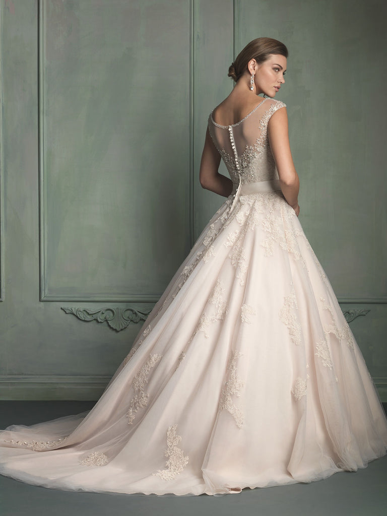 Allure Bridals '9114' size 2 used wedding dress back view on model