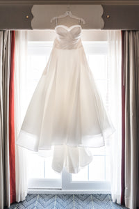 Matthew Christopher 'Abigail' size 12 used wedding dress front view on hanger