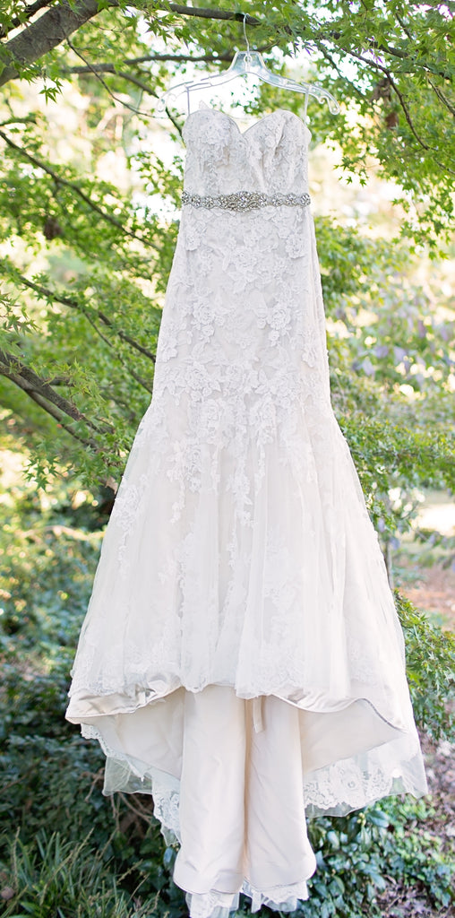 Maggie Sottero 'Ascher' size 6 used wedding dress front view on hanger