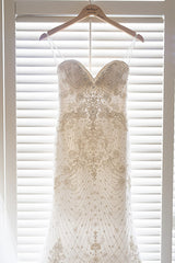 Casablanca 'B087' size 0 used wedding dress front view on hanger