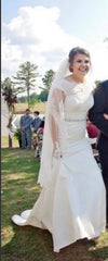 David's Bridal  'Illusion Lace' size 12 new wedding dress front view on bride