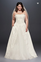 Load image into Gallery viewer, David's Bridal 'Embroidered Satin' size 18 used wedding dress front view on bride