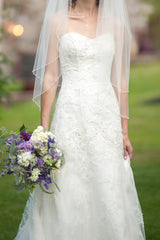 Casablanca '1827' size 0 used wedding dress front view on bride
