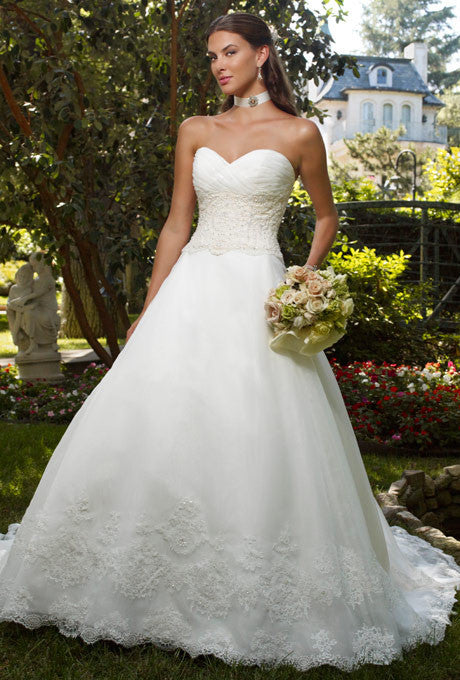 Casablanca Beaded Organza Ball Gown - Casablanca - Nearly Newlywed Bridal Boutique - 1