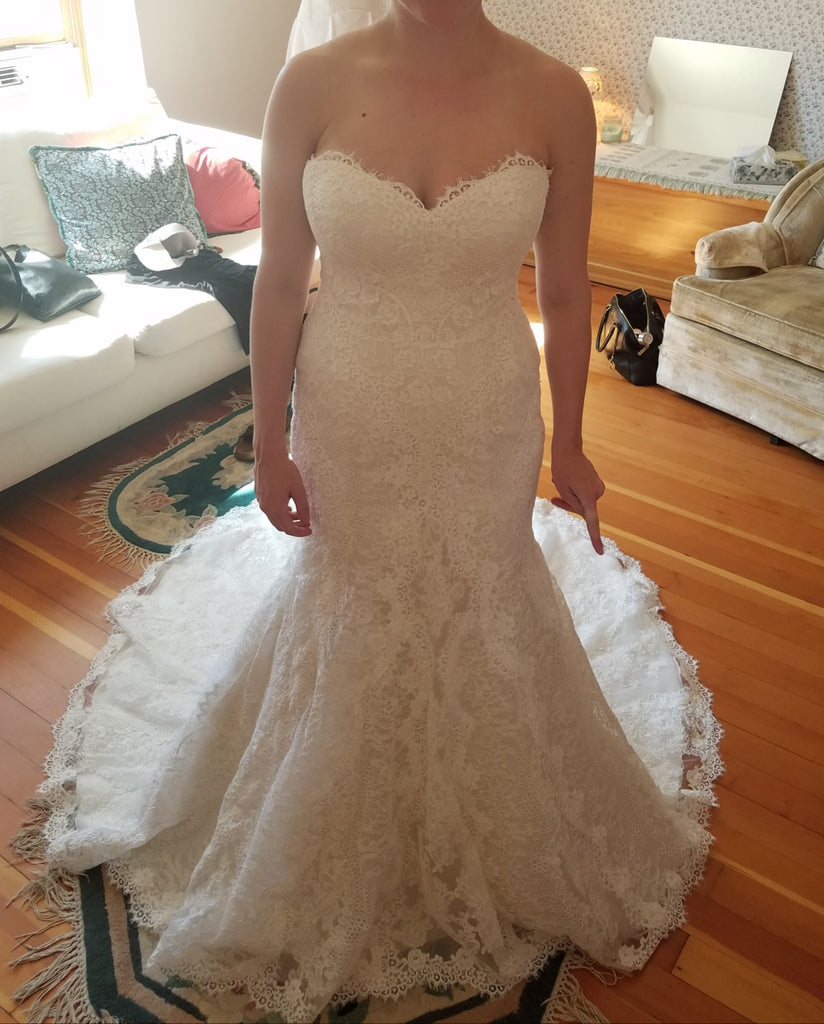 Essence of Australia 'D2224' size 10 used wedding dress front view on bride