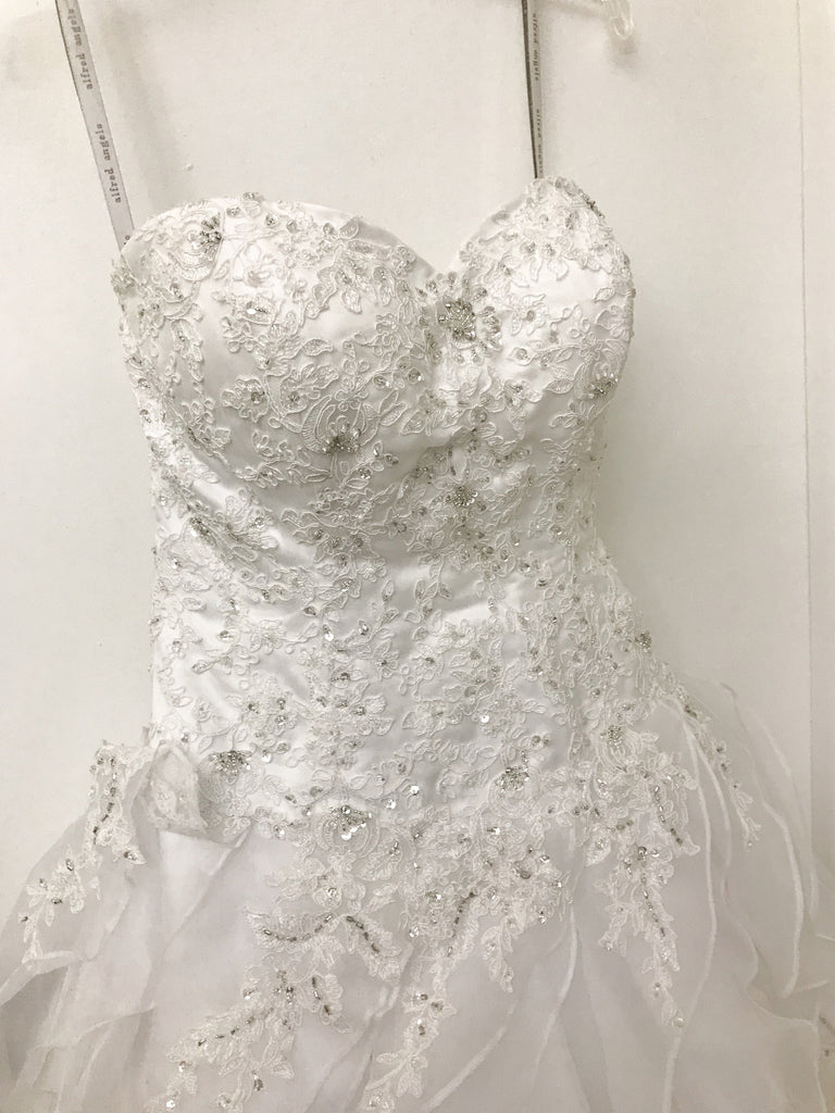 Alfred Angelo 'Srapphire' size 4 sample wedding dress front view on hanger