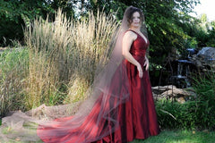 Custom 'Wine Red' size 10 used wedding dress side view on bride