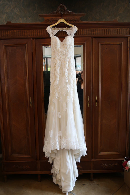 Sophia Tolli 'Robin' size 2 used wedding dress front view on hanger