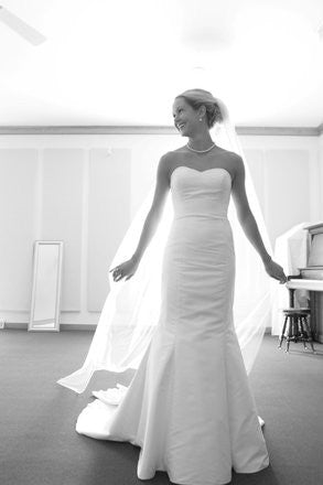 Custom 'Dupioni Silk' size 4 used wedding dress front view on bride