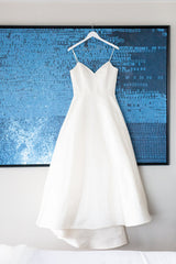 Amsale 'Rowan' size 12 used wedding dress front view on hanger
