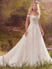 Maggie Sottero 'Saffron' size 6 used wedding dress front view on model