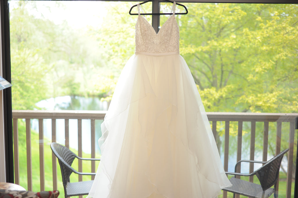 David's Bridal 'Garza Ball Gown' size 10 used wedding dress front view on hanger