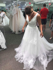 Custom 'Mikado and Tulle' size 4 new wedding dress front view on bride