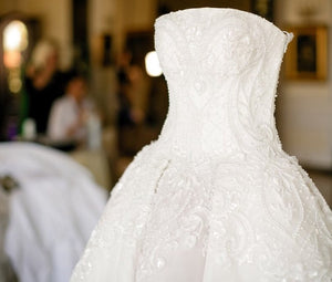 Jacy Kay 'Custom' size 8 used wedding dress front view close up