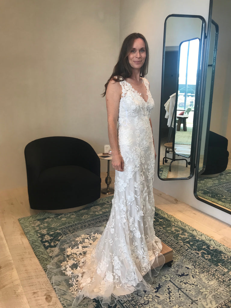 BHLDN 'Liesel' size 4 used wedding dress front view on bride