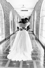 Load image into Gallery viewer, Essence of Australia 'Gilly' size 24 used wedding dress back view on bride