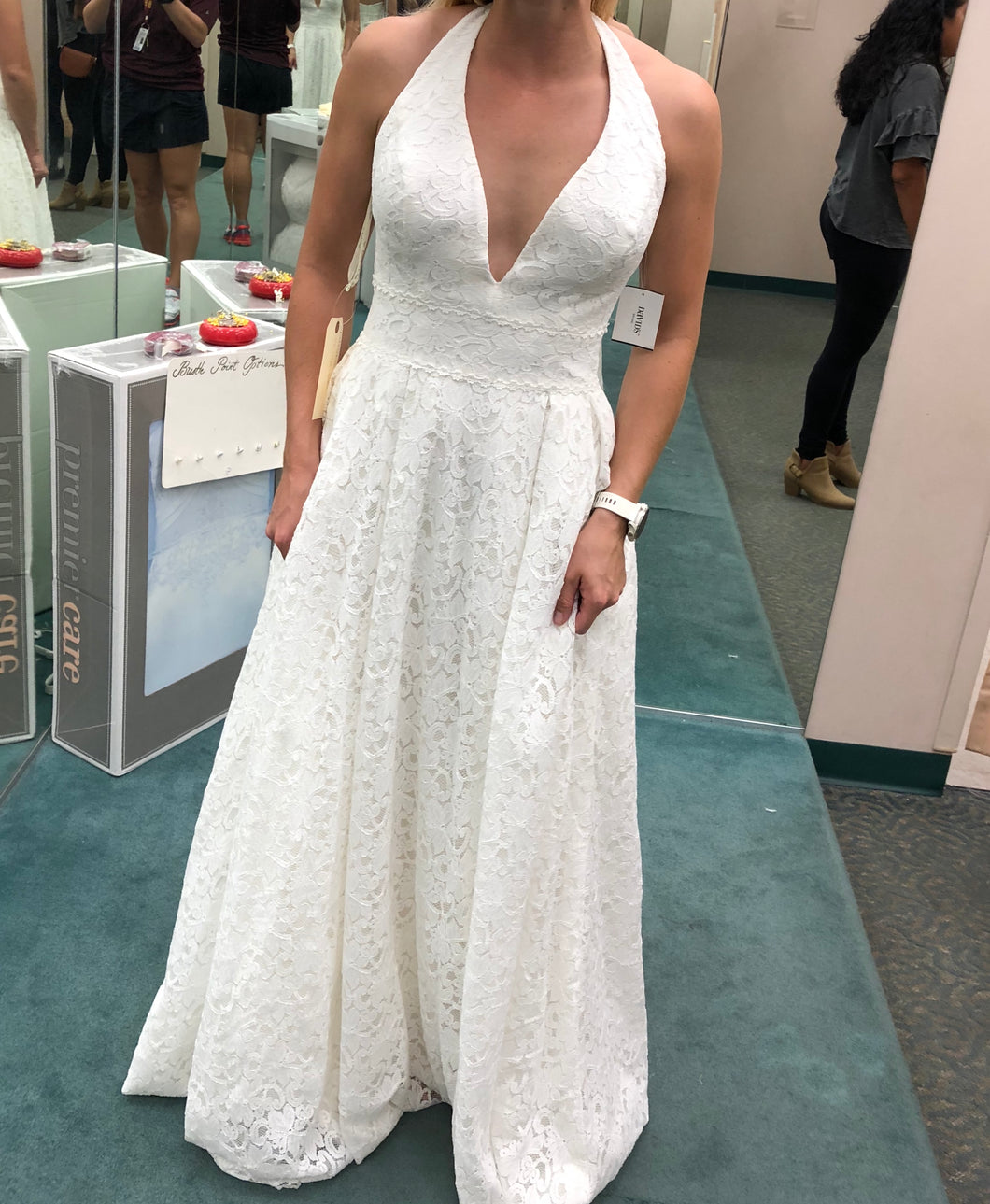 David's Bridal 'Lace Halter' size 6 new wedding dress front view on bride