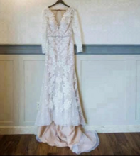 Load image into Gallery viewer, Galina Signature 'Galina' size 4 used wedding dress front view on hanger