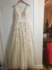 BHLDN 'Ariane' size 12 used wedding dress front view on hanger