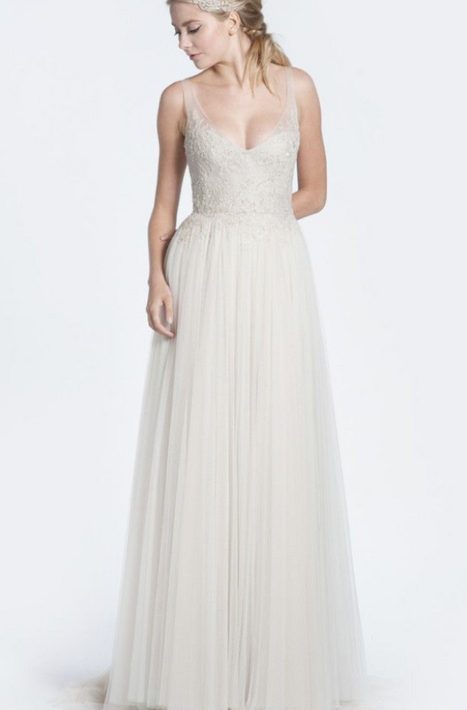 Paolo Sebastian 'Mia' size 2 used wedding dress front view on model