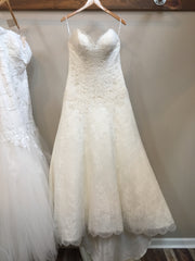 Matthew Christopher 'Adeline' size 16 used wedding dress front view on hanger